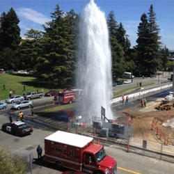 Broken water main shoots water 15 feet into the air